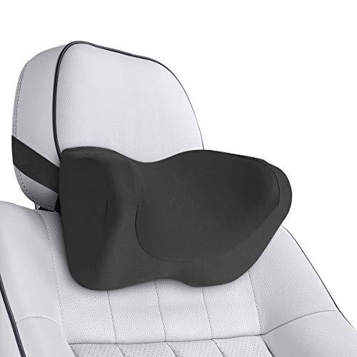 Hivexagon Cuscino cervicale per auto con cinghia regolabile, fodera lavabile, in memory foam, cuscino poggiatesta per alleviare il dolore a collo, spalle e collo, AT042