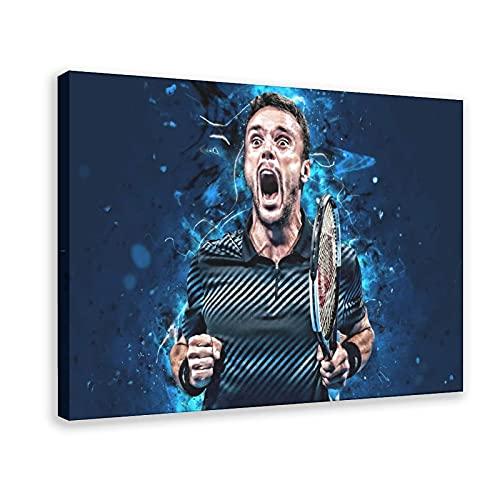 Poster sportivo da parete con atleta di tennis Roberto Bautista Agut 1, decorazione da parete, per soggiorno, camera da letto, cornice: 60 x 90 cm