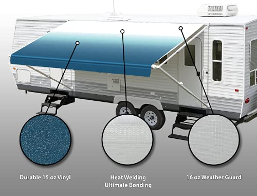 SunWave Awning Fabric Ocean Blue Fade 16'(approximate Fabric Width 15' 2-3')