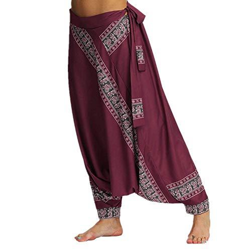 Pantalones bohemios de yoga para mujer, pantalones de harén holgados con estampado hippie de cintura fruncida para pilates, Mujer, Vino tinto, Talla única