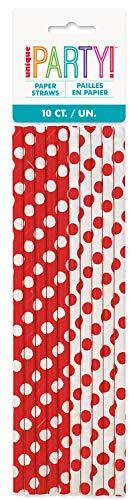 Unique Party- Dots Straw Cannucce di Carta in Set da 10, Colore Rosso (Red), Confezione, 62082