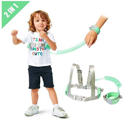 2 in 1 Kinder Walking Sicherheit Geschirr Handgelenk Leine Strap Für 0-5 Jahre Kinder-Baby Antiverlust Gürtel,Mintgreen,2.5m