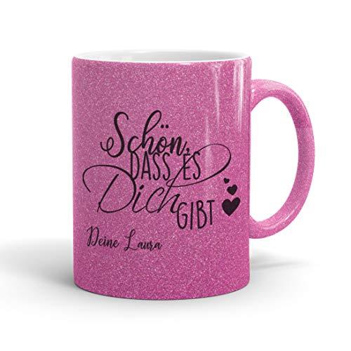 True Statements Glitzer Tasse Schön dass es dich gibt Wunschname - Glitter Kaffeetasse mit Spruch - beidseitig bedruckt - spülmaschinenfest, glitter pink