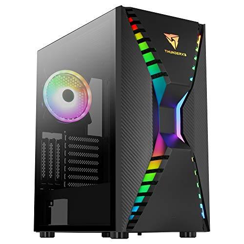 Aerocool ThunderX3 CRONUSBK, Caja Gaming PC, Ventilador ARGB, Cristal Templado, negro