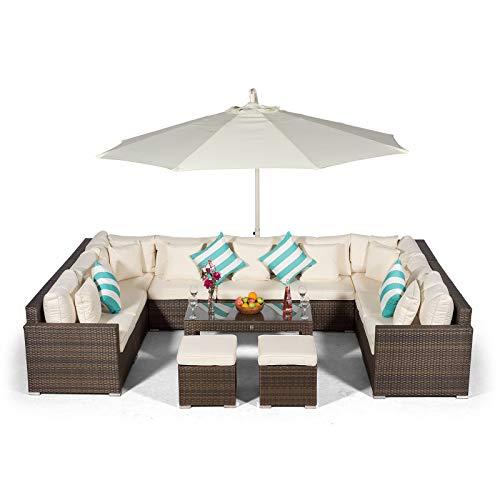Giardino Havana 9 Seater Brown Large Rattan Sofa Set + 2 Stools + Coffee Table + 3m Parasol + Outdoor Rattan Furniture Cover | 13 Piece Modular Poly Rattan Garden Sofa Set | Outdoor Conversation Set