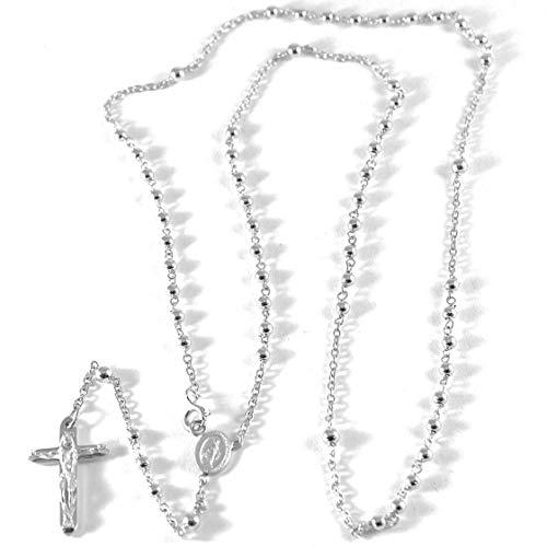 Collar rosario de Oro Blanco 75018K, medalla milagrosa, Cruz con Cristo, bolas 2.5mm, longitud de 52cm, Fabricado en Italia