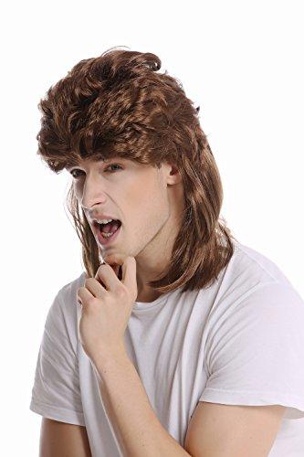 WIG ME UP - G-2-ZA6 Perücke Damen Herren Karneval Halloween Vokuhila Mullet braun toupiert aufgebürstet 80er Proll