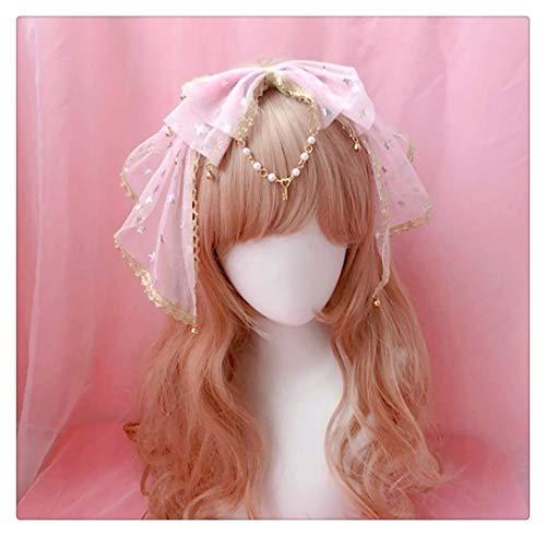 YUNGYE Süße Kawaii Bow Lace Trim Glocke Anhänger Stirnband Fairy Cosplay Headwear Haarspange Haarband Sterne Haarschmuck (Color : Pink)