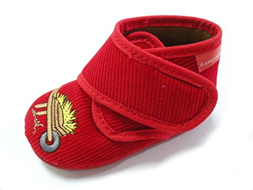 DIAMANTINO Pantoufles en Velour avec Velcro Made in Italy OL1114 Rouge Taille: 19