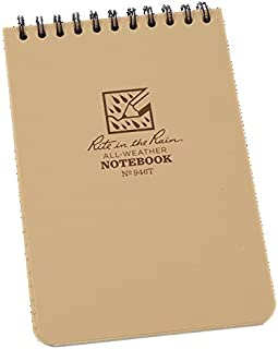 "Rite in the Rain Pocket Top-Spiral Weatherproof Notebook 946T, 4"" x 6"", Beige color - Total 8 Notebook"
