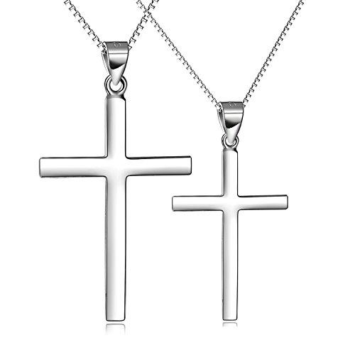 Prämie Kette Damen Silber 925, Kreuz Anhänger partnerketten pärchen Kette Damen Halskette Silber Schmuck Kreuz kette für Damen Herren