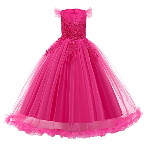 Girls Lace Pageant Party Dress Wedding Flower Girl Maxi Gowns Flower A Line Birthday Dance Evening Tulle Floor Length Skirt Hot Pink 3-4 Years