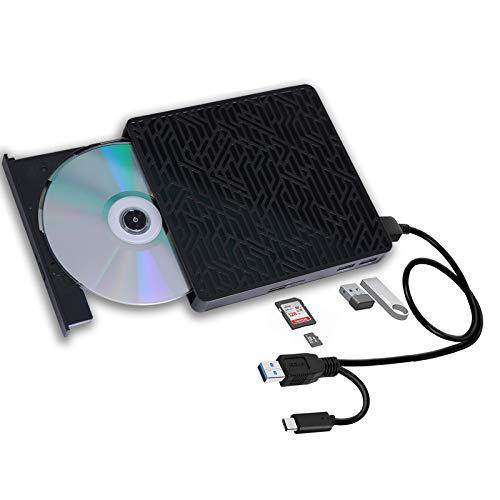 USB 3.0&USB-C External CD DVD Drive,Multifunctional External CD/DVD +/- RW Burner Player Writer Support SD/TF Card/2 USB 3.0 Ports/Charging,Compatible with Mac OS/Windows/MacBook/Laptop/Desktop-Black