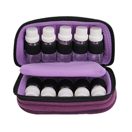 ZLININ Y-longhair 10 Bottle Essential Oil Carrying Case Storage Fits 10 & 15 Ml Travel Organizer Pouch Bag Perfect For Traveling (Color : Purple, Size : 18X10X7.5CM)