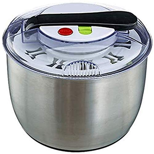 Yuanbogg - Spinner per insalata in acciaio inox, grande capacità per lavare e asciugare le verdure
