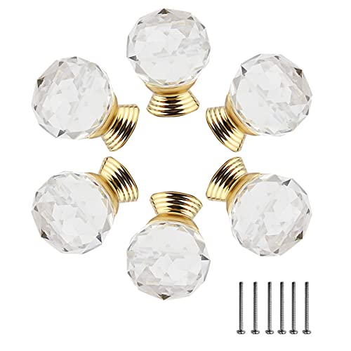 Pomelli per armadietti in cristallo, Confezione da 6, Maniglie in cristallo per cassetti, Pomelli per mobili, Pomelli in vetro per cassetti (25mm)