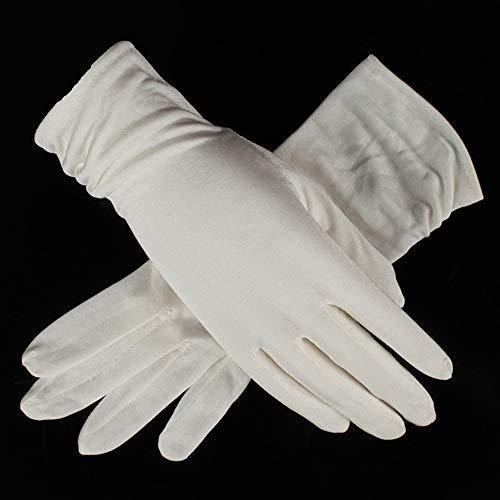 Agelec Sommer-Seidenhandschuhe, Seide, Atmungsaktiv, Fahren, Damen, Fahrradhandschuhe, Damenfaltenhandschuh (Color : White)