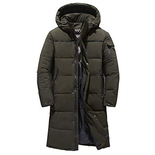 QwarmQ Herren Daunenjacke Wintermantel Mittleren Alters Daunenmantel mit Kapuze Outwear Lang Warm,Grün,XXL