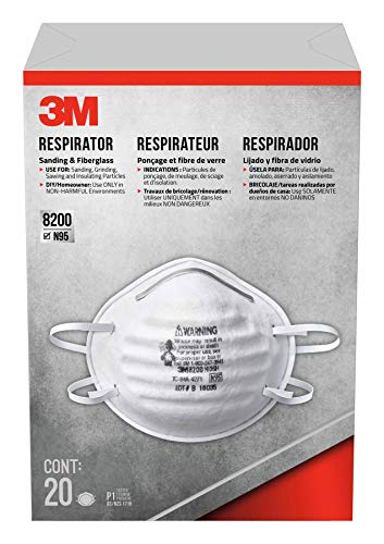 3M 8200HB3-A Sanding and Fiberglass Respirator, 20-Pack