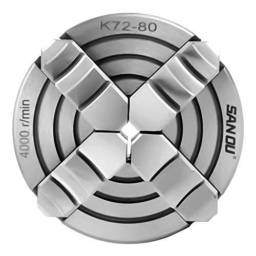 Mandril para Torno 4 Mordazas,Torno Chuck Mandril Portabrocas para Torno Metal 4000r / Min Reversible e Independiente Con Llave Hexagonal y Tornillos