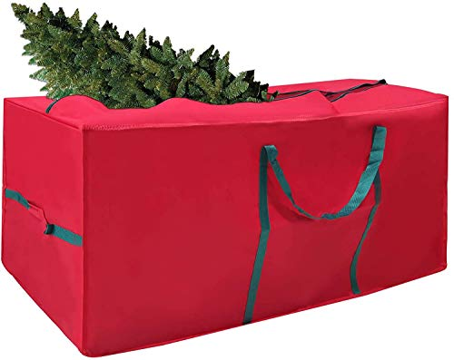 Christmas Tree Storage Bag with Handles – Easy to Store Christmas Tree Bag, Fits Up to 7.5ft Tall Trees - Wipe Clean Surface Large Bag for Xmas Tree and Decorations – Strong Durable with Full Zipper