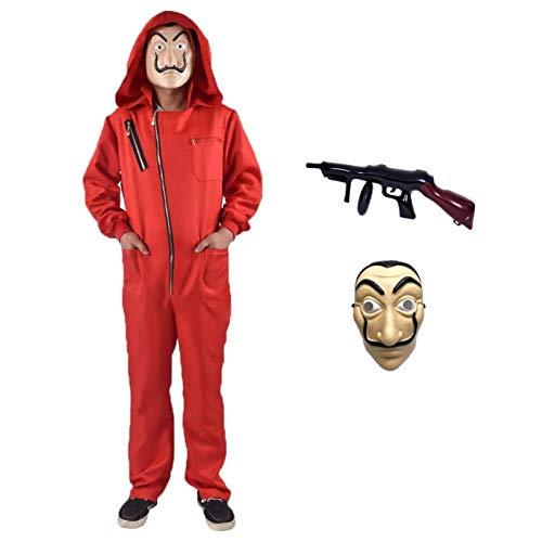 Disfraz de La casa de papel para Disfraz Ladrón es perfecto para Disfraces Carnaval Halloween. Incluye un traje con capucha y una Dali máscara Ametralladora Hombre Mujer (N-Child-XL-145-155)
