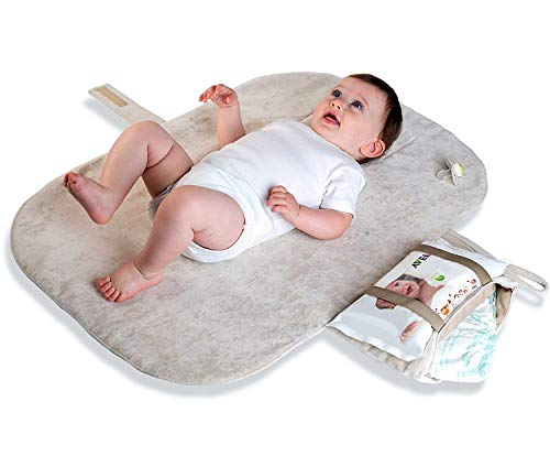 MoBaby Portable Changing Pad, Luxurious Soft-as-Suede Change Clutch, Machine Washable, Chic Cushioned Change Station for Baby, Infant, and Newborn, Coffee Color