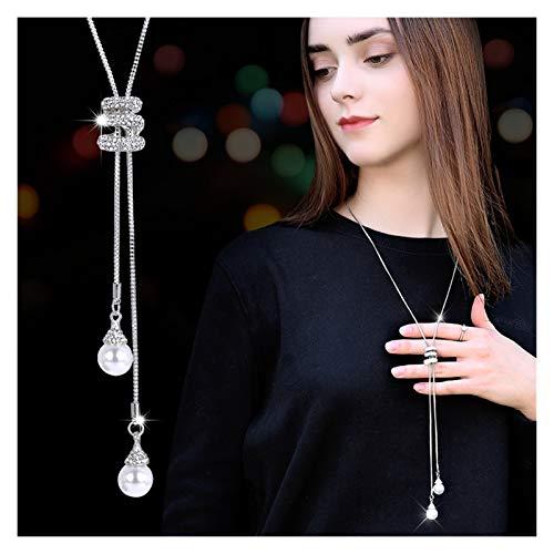 WanXingY Mock Pearl Snake Crystal Long Long Suéter Collar de Cadena Necklace Collar Accesorio Vintage Collar de Cuello de Cristal (Color : Silver Plated)