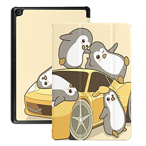 Funda para Tableta Fire HD 8 (versión 2018/2017/2016), Funda de Dibujos Animados de Coche Deportivo Amarillo Kawaii Penguins con activación/Reposo automático