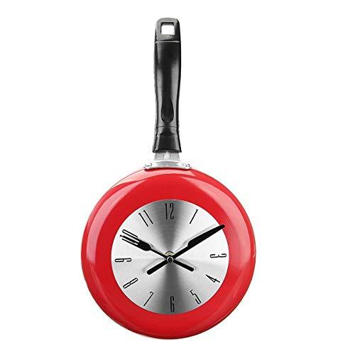 Duyifan 8 Inch Koken Pan Ontwerp Opknoping Wandklok Keuken Metalen Horloge Saat voor Nieuwigheid Art Woonkamer Decoratie Zwart/Wit/Rood