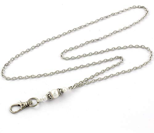 Brenda Elaine Jewelry Silver Plated Women's Fashion Lanyard Necklace ID Badge Holder, 32 Inch Silver Textured Chain with White Pearl Pendant & No Rear Clasp