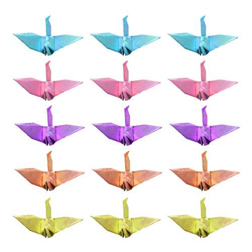Amosfun 100 Piezas Origami Grullas de Papel Cumpleaños Boda Día de San Valentín Decoraciones para Fiestas 6 Cm (Color Perla Mixto)
