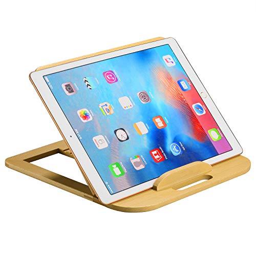SAMDI Soporte de madera para portátil, ajustable, soporte para tableta, soporte ergonómico para MacBook de 11 a 14 pulgadas (abedul blanco)