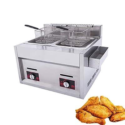 BL Friteuse à gaz à Double Cylindre 20L avec bac d'assaisonnement et 2 paniers de friture Friteuse à copeaux Commerciale en Acier Inoxydable