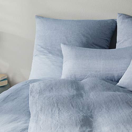 elegante Leinen Bettwäsche Chill Denim 1 Bettbezug 135x200 cm + 1 Kissenbezug 80x80 cm