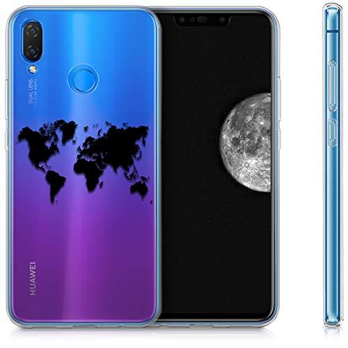 kwmobile Huawei P Smart+ (2018) / Nova 3i Hülle - Handyhülle für Huawei P Smart+ (2018) / Nova 3i - Handy Case in Travel Umriss Design Schwarz Transparent - 5