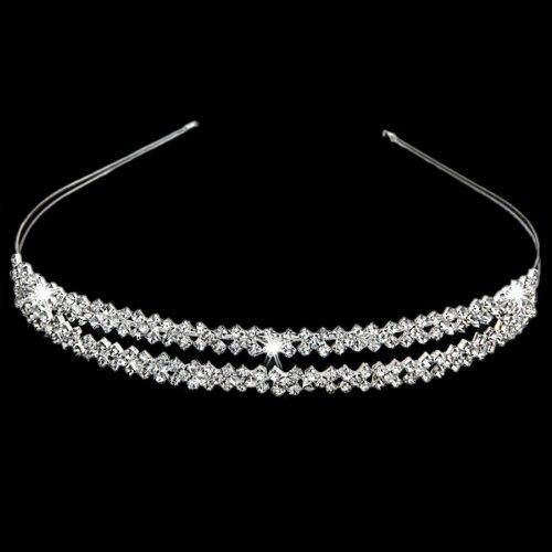 Gleader Cerchietto placcato d'argento con 2 righe strass Alice accessori per capelli fascia dei capelli da sposa