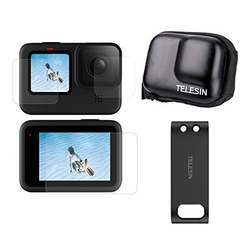 TELESIN 3-in-1 Kit di Accessori di Fotocamera d'Azione per GoPro Hero 9,Custodia Mini sacca protettiva + pellicola protezione per schermo + Coperchio Batteria Ricaricabile per GoPro Hero Black 9