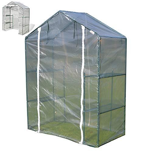 LQQ Tomaten tomatenhaus Kleines Begehbares Gewächshaus mit Durchsichtiger PVC-Abdeckung und Stahlrahmen, Tragbares Gartengewächshaus für Hinterhöfe mit Blumen