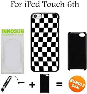 Checkered Flag Finish Line Custom iPod 6/6th Generation Cases-Black-Plastic,Bundle 2in1 Comes with Custom Case/Universal Stylus Pen by innosub