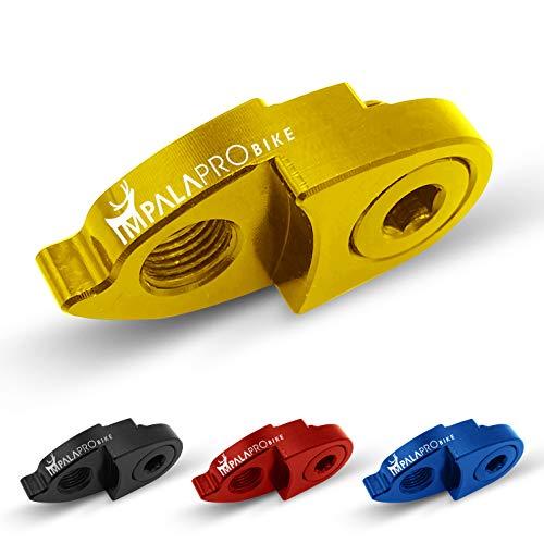IMPALAPRO BIKE extensor del gancho del cambio o desviador trasero para bicicleta montaña (MTB) y carretera. Ultraligero y resistente. Gran durabilidad y alta compatibilidad con Shimano y SRAM (Dorado)