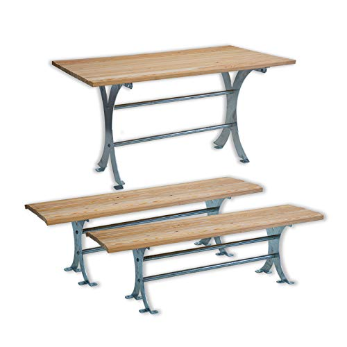 Sitzgruppe aus Holz und Metall - Tisch Forst 150 + 2 x Sitzbank Forst 150 | Holztisch, Massivholztisch, Esstisch, Tisch