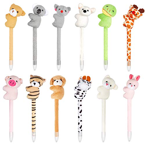 12pcs Novelty Animal Pens Cartoon Character Animal Pens for Girl Boy Kids Gift Fun Toy Party Supply