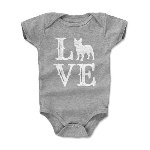 French Bulldog Baby Clothes, Onesie, Creeper, Bodysuit - French Bulldog Love WHT (Heather Gray, 6-12 Months)