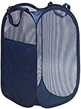 Sentovac Fold-able Pop-Up Mesh Hamper,Laundry Hamper with Reinforced Carry Handles Collapsible Laundry Basket Light to Carry,Great for Small Space,Dorm,Traveling(Navy 3)