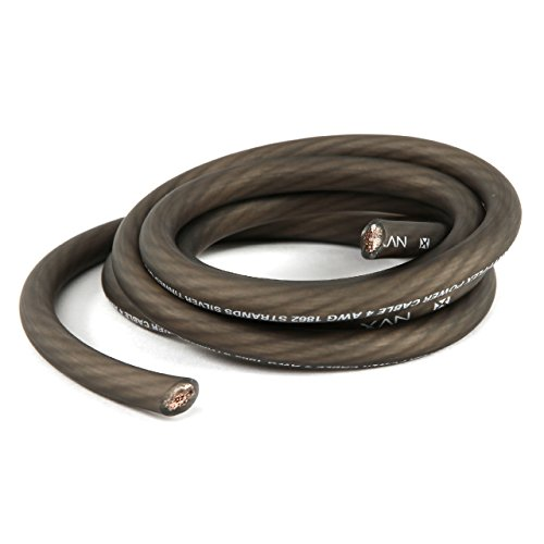NVX Professional Grade 100% TINNED OFC Power and Ground True AWG Wire (Black, 4 Gauge 5FT)