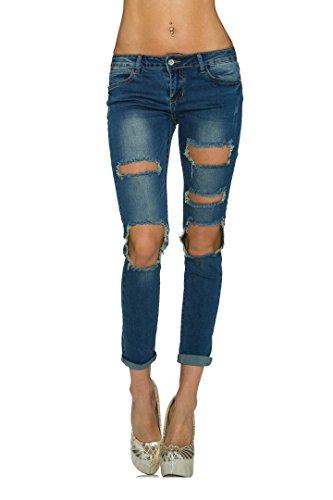 jeans donna farfallina Farfallina Jeans Blu Used Look Indaco Blu W32