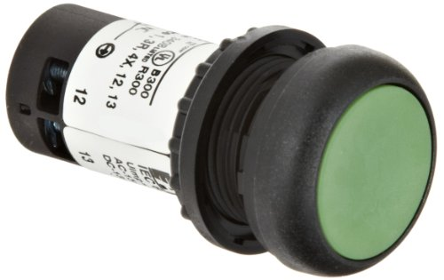 Eaton C22S-D-G-K11 Pushbutton Switch, Flush Mounted, Momentary Operation, Green Button Color, Black Bezel Color, SPST-NO / SPST-NC Contacts
