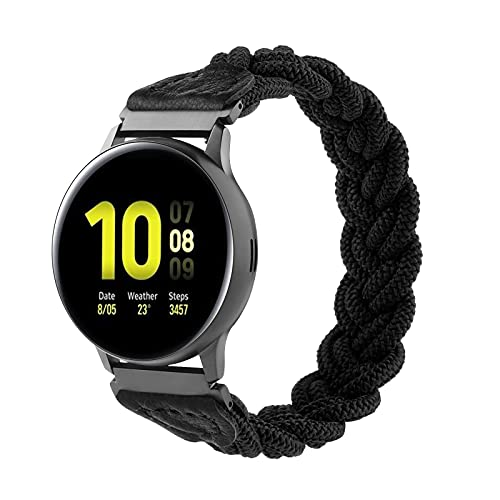 Elastic Solo Loop Bands Compatible with Samsung Galaxy Watch 42mm/Active 2/Watch 3 41mm/Active 40mm, 20mm Stretchy Nylon Braided Elastics Sport Strap for Gizmo Watch 2/1 (Black, L(6.7''-7.6''))