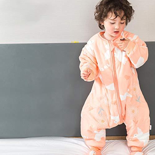 ASMCY Bebé Bolsa de Dormir, Otoño Invierno Algodón Espesado Infantil Anti Kick Calentar Pierna Dividida Saco de Dormir Manta con Mangas extraíbles,H,M